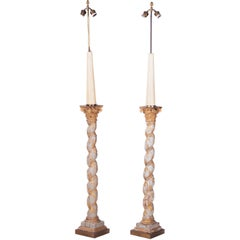 1960s Pair of French Polychrome Hand Carved Wooden Standing Lamps