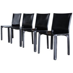 Black Leather Cab Chairs By Mario Bellini For Cassina