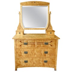 Swedish Arts and Crafts Chest of Drawers with Tilting Mirror in Golden Birch