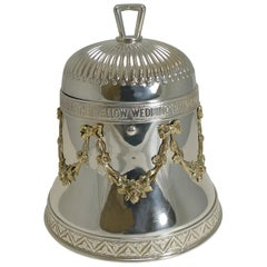 "Rare Antique English ""Wedding Bell"" Biscuit Box in Silver Plate, Reg. 1883"