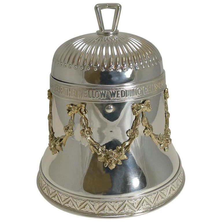"""Rare Antique English """"Wedding Bell"""" Biscuit Box in Silver Plate, Reg. 1883 For Sale"""