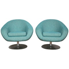 Pair of Swivel Lounge Chairs by Gastone Rinaldi in Turquoise Chanel, 1970, Italy