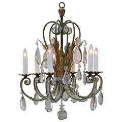 French 1930s Crystal and Gilt Iron Chandelier