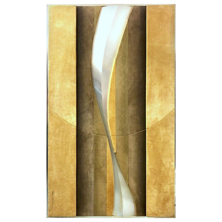 1970s Suede and Metal Large Wall Art Sculpture For Sale