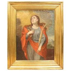 18th Century Italian Oil Painting on Canvas Saint Apollonia with Golden Frame