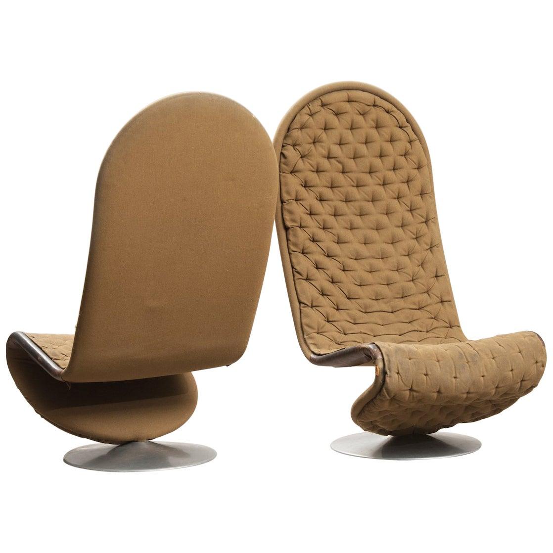 Verner Panton 'System 1-2-3 De Luxe' Lounge Chairs, for Fritz Hansen, Denmark