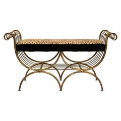 Italian Mid-Century Modern Bench in Gilt Iron with Faux Leopard Leather Seat