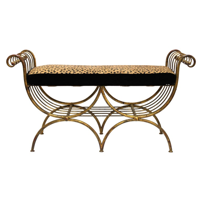 Italian Mid-Century Modern Bench in Gilt Iron with Faux Leopard Leather Seat For Sale