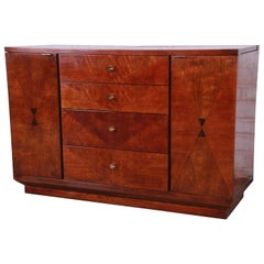 Henredon Art Deco Mahogany and Rosewood Bar Cart Buffet Server