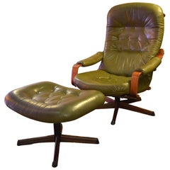 Swedish Green Leather Swivel Chair and Ottoman by Göte Möbel Sweden, 1970s