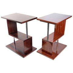 Fabulous Set of Two Fruitwood Side Tables, Art Deco Style, France, 20th Century