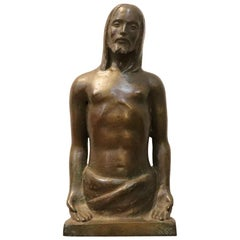 20th Century Italian Art Deco Sculpture in Bronze Religious Subject, Christ