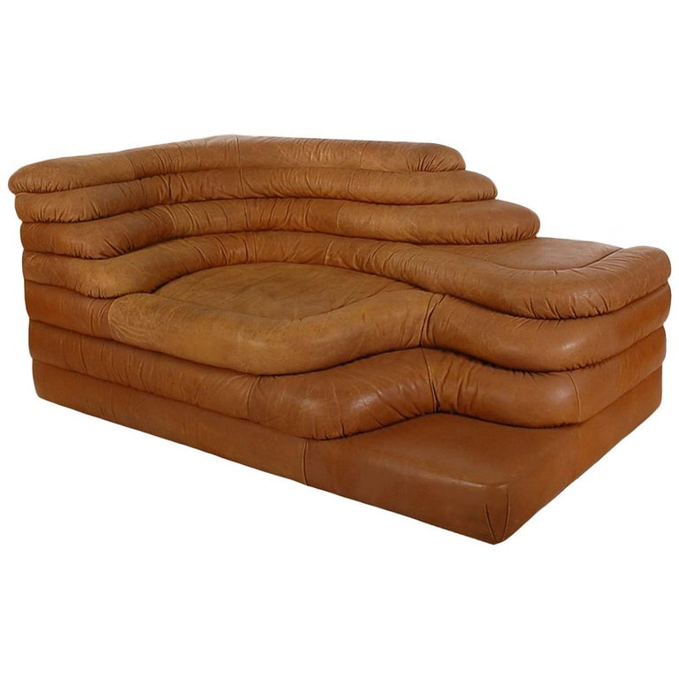 Mid-Century Modern Leather Chaise/Terazza Sofa by Ubald Klug for De Sede  For Sale