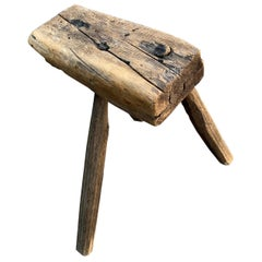 Scandinavian Three-Legged Folk Art Milking Stool, circa 1800