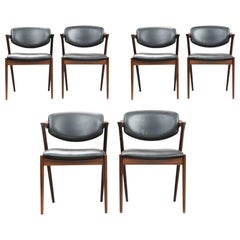 Kai Kristiansen Rosewood Dining Chairs, Model 42, Set of Six