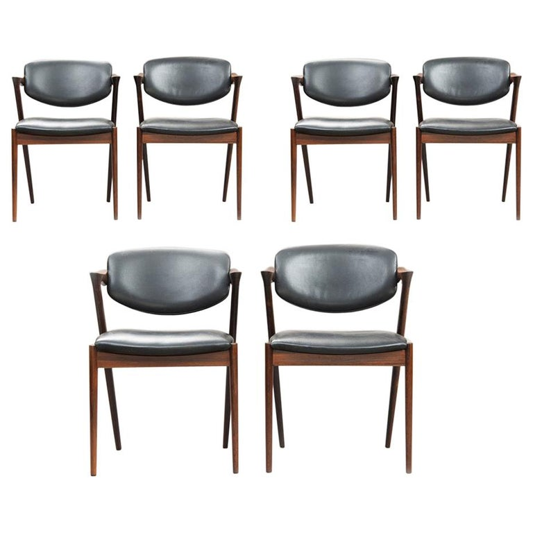 Kai Kristiansen Rosewood Dining Chairs, Model 42, Set of Six For Sale