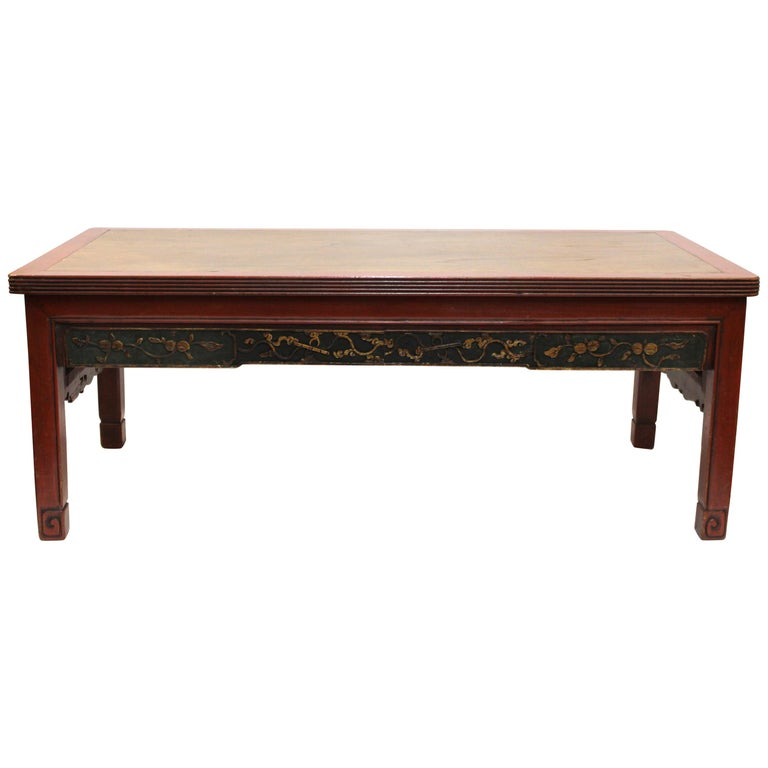 Chinese Carved Wood Cocktail Table In Red And Gold For