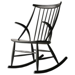 Illum Wikkelsø Scandinavian Black Oak Danish Rocking Chair, Denmark, 1958