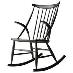 Illum Wikkelsø Scandinavian Black Oak Danish Rocking Chair, Denmark, 1958