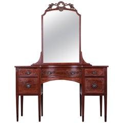 Early Widdicomb Hepplewhite Style Inlaid Mahogany Vanity Dresser With Mirror