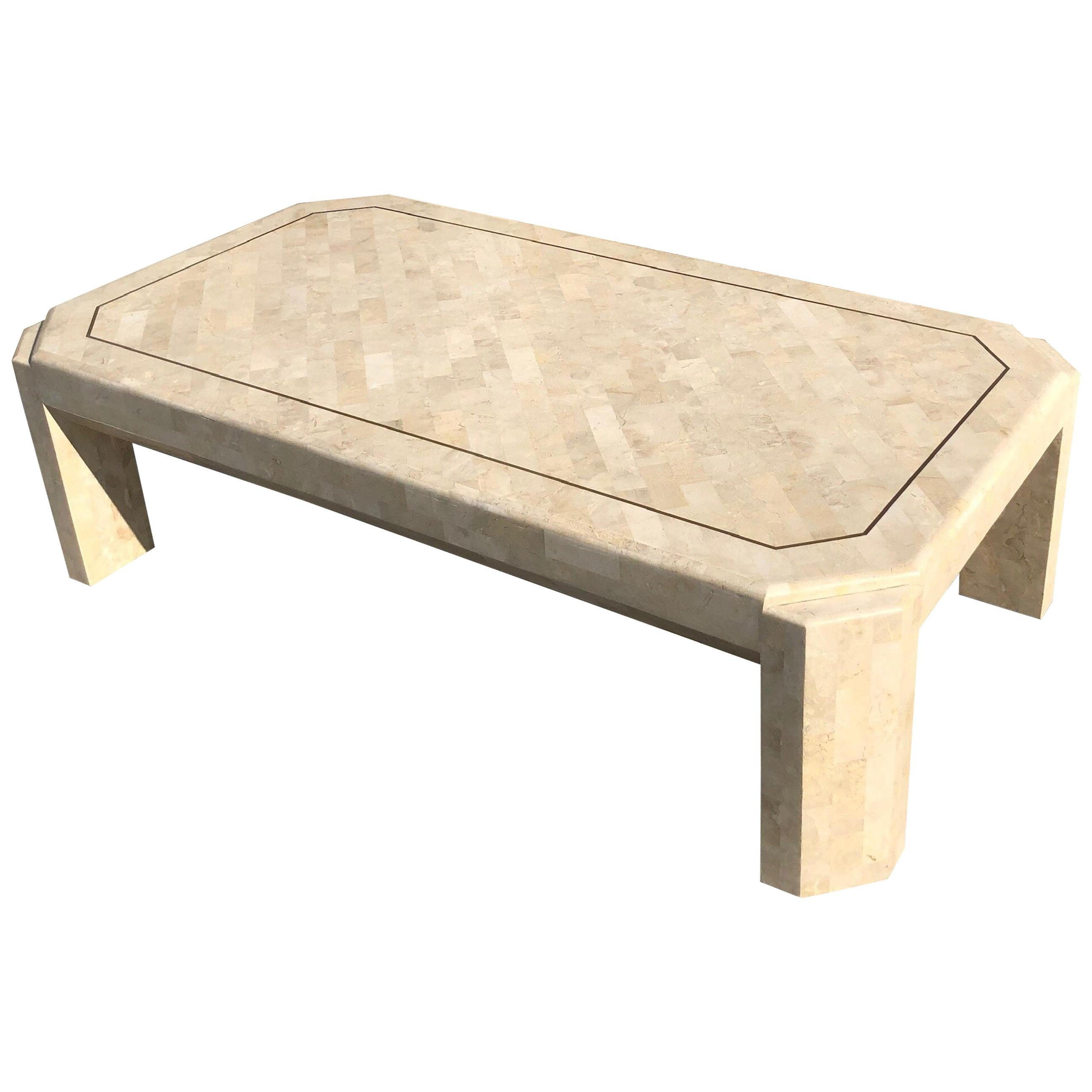Fossil Stone and Brass Cocktail Table by Maitland Smith