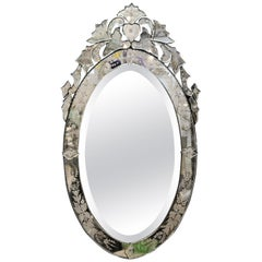 Hollywood Regency Oval Venetian Mirror
