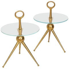Pair of Handcrafted Bronze and Glass Tripod Martini Side Tables, Italy