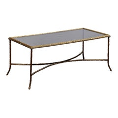 French 20th Century Bronze Coffee Table with Leafy Motifs and Glass Top