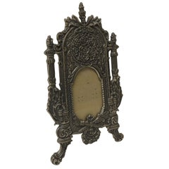 Vintage Pewter Picture Frame in Shape of a Cheval Floor Mirror