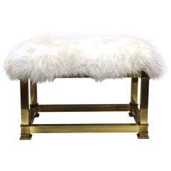 Mid-Century Modern Brass Bench with Sheepskin Upholstery