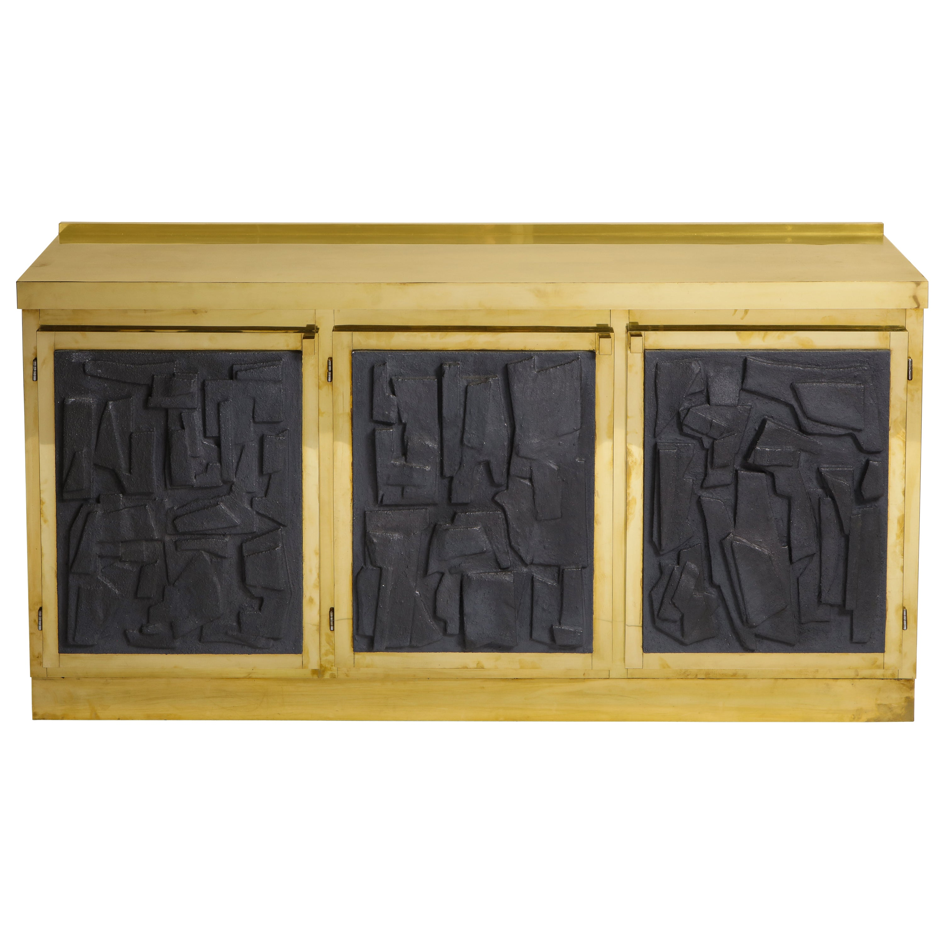 Brass and Black Bespoke Brutalist Style Sideboard or Credenza, Italy, 2019