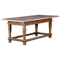 Danish Baroque Style Table with Red Stone Tabletop