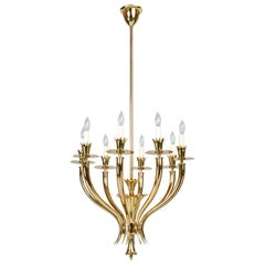 Gio Ponti: Important Geometric 8-Arm Chandelier in Polished Brass, Italy 1930s