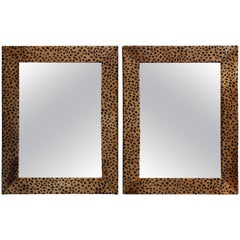 Mid-Century Modern Faux Leopard Leather Frame Mirrors