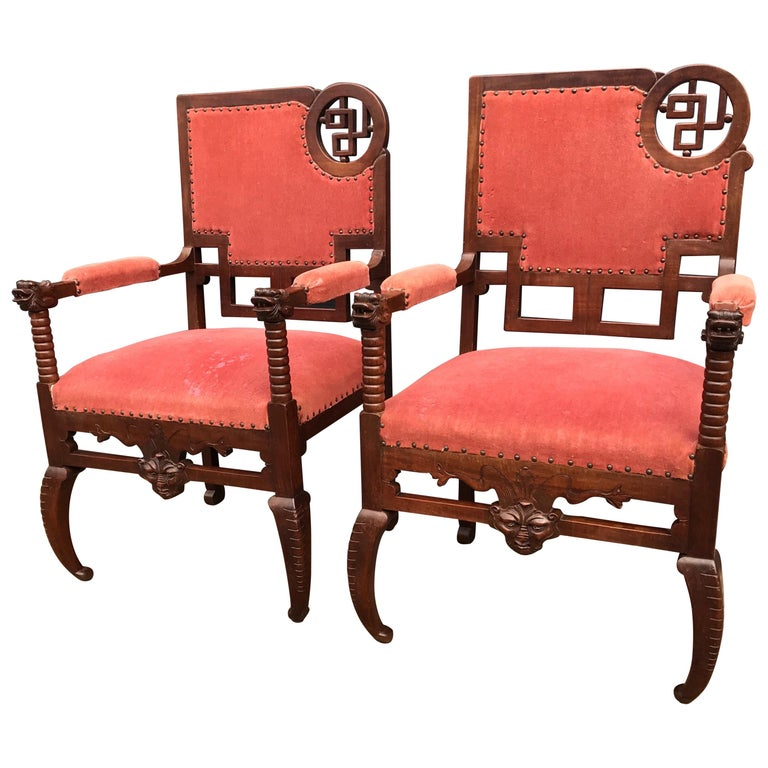 Unique & Stylish Pair of Japonisme Armchairs W. Fish / Dragon Armrest Sculptures For Sale