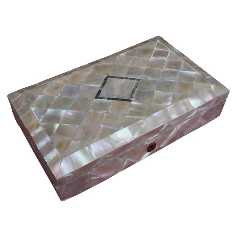 Antique and Extra Large Mother of Pearl Jewelry Box with Silver Lock and Hinges For Sale