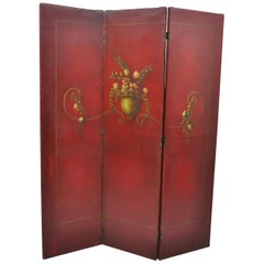 French Art Nouveau Red Oil on Canvas Hand Painted 3-Panel Dressing Screen