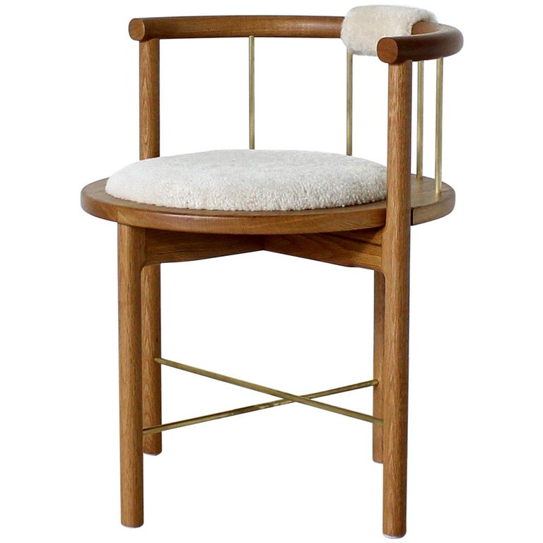 Limited Edition Modern Lloyd Accent Chair in White Oak, Brass, Shearling For Sale