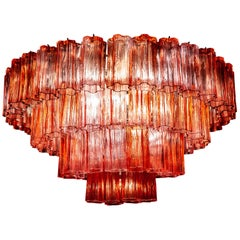 Murano Glass Red Stunning Tronchi Chandelier in the style of Venini c. 2000s