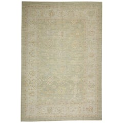 Green and Ivory Handmade Wool Turkish Oushak Rug