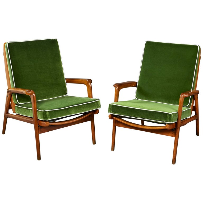 Pair of Reclining Wood Armchairs, Italy, 1950s For Sale