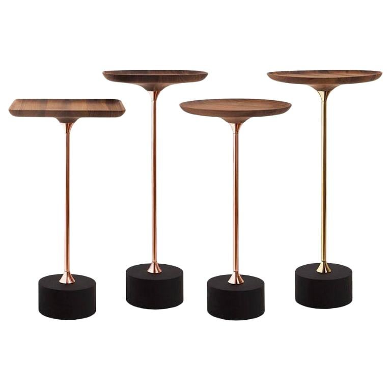 Jardim Side Tables in Concave Wood by Sollos For Sale