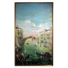 20th century Italian Oil Painting Il Ponte Delle Guglie Venice by Valerio Zerbo