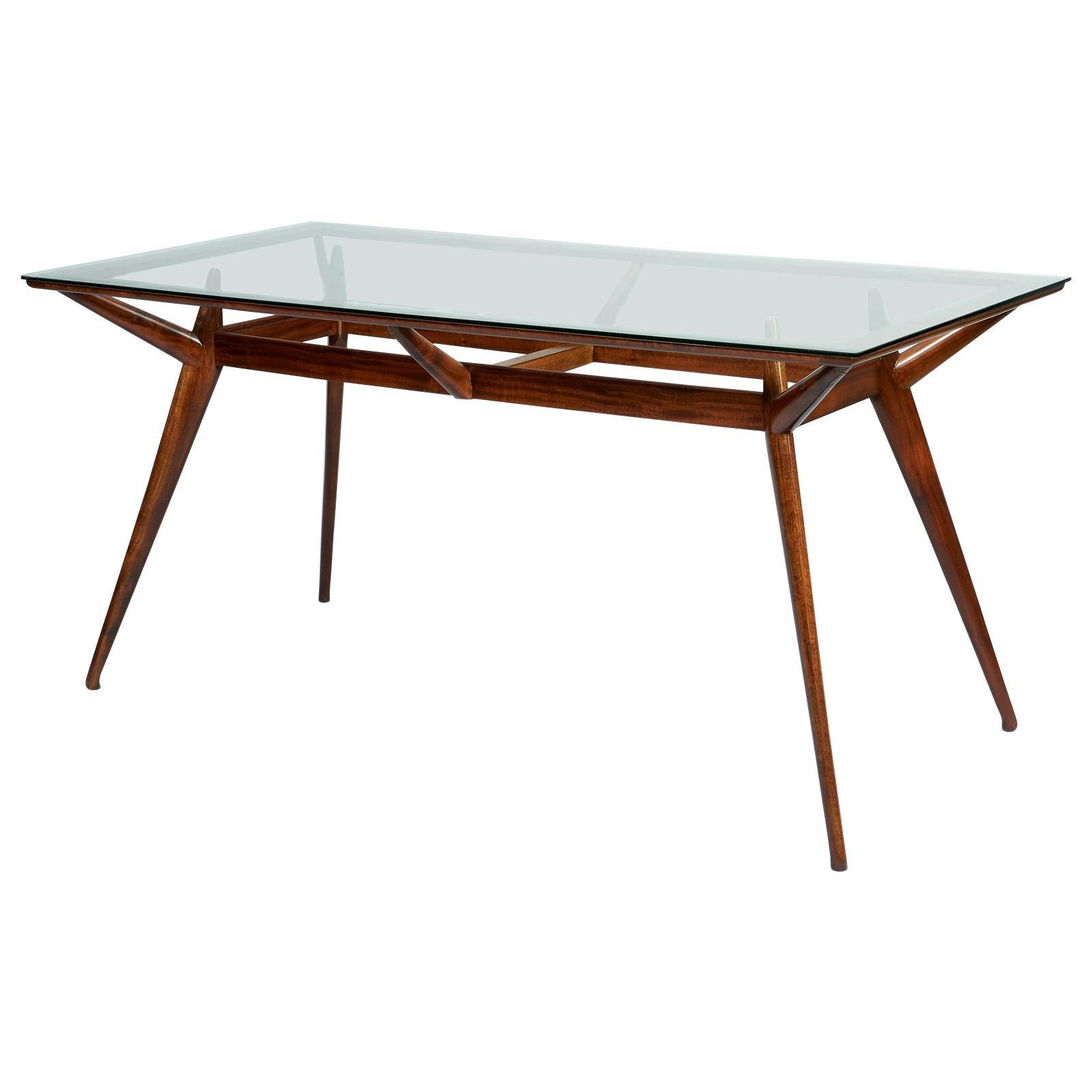 Silvio Cavatorta Organic Modern Mahogany and Glass Dining Table, Italy 1950s