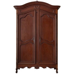 19th Century French Louis XV Style Mahogany Armoire