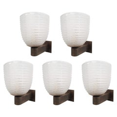 Five Ribbed Sconces by Barovier e Toso