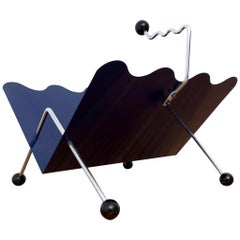 Navy Blue Steel and Varnished Metal Magazine Rack, Italy, 1980s