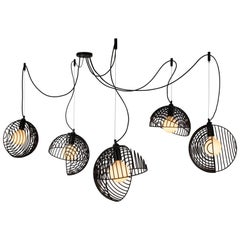 Dana Pendant Light, Black, Cluster of Five, from Souda