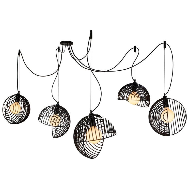 dana pendant light  black  cluster of five  from souda for sale at 1stdibs