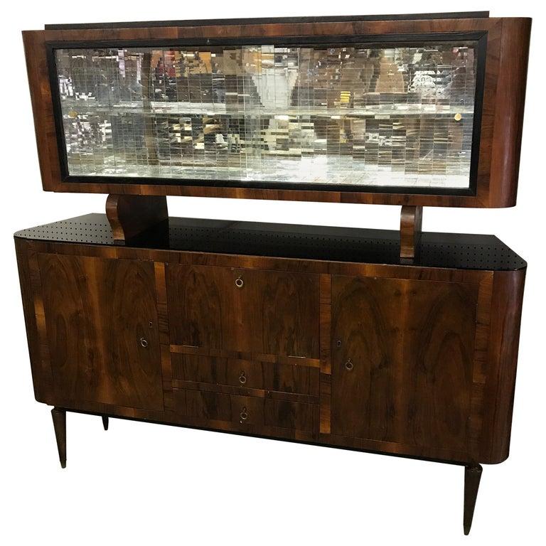 Mid-Century Modern Italian Drybar Cabinet with Mosaic Mirror Decoration For Sale